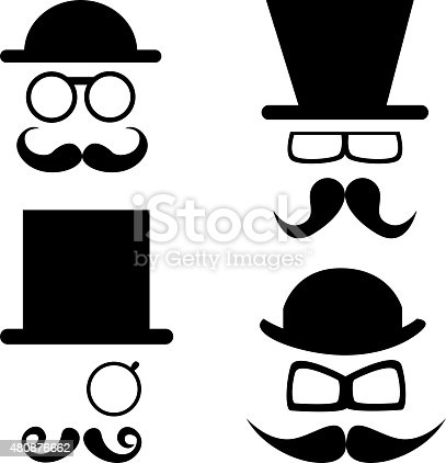 Retro set hat and mustache and glasses.