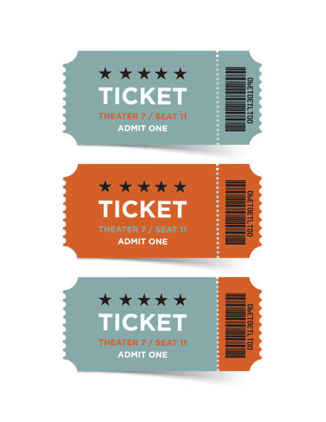 Retro Style Vector Ticket Set Retro style vector ticket set. Vertical composition. movie ticket stock illustrations