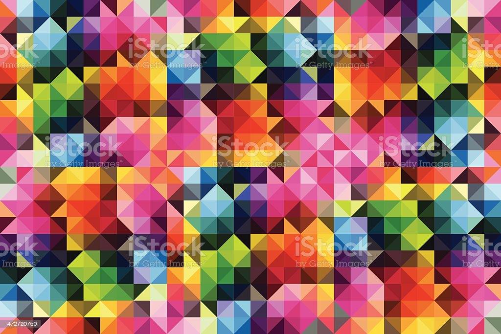 Retro style vibrant colour mosaic background vector art illustration