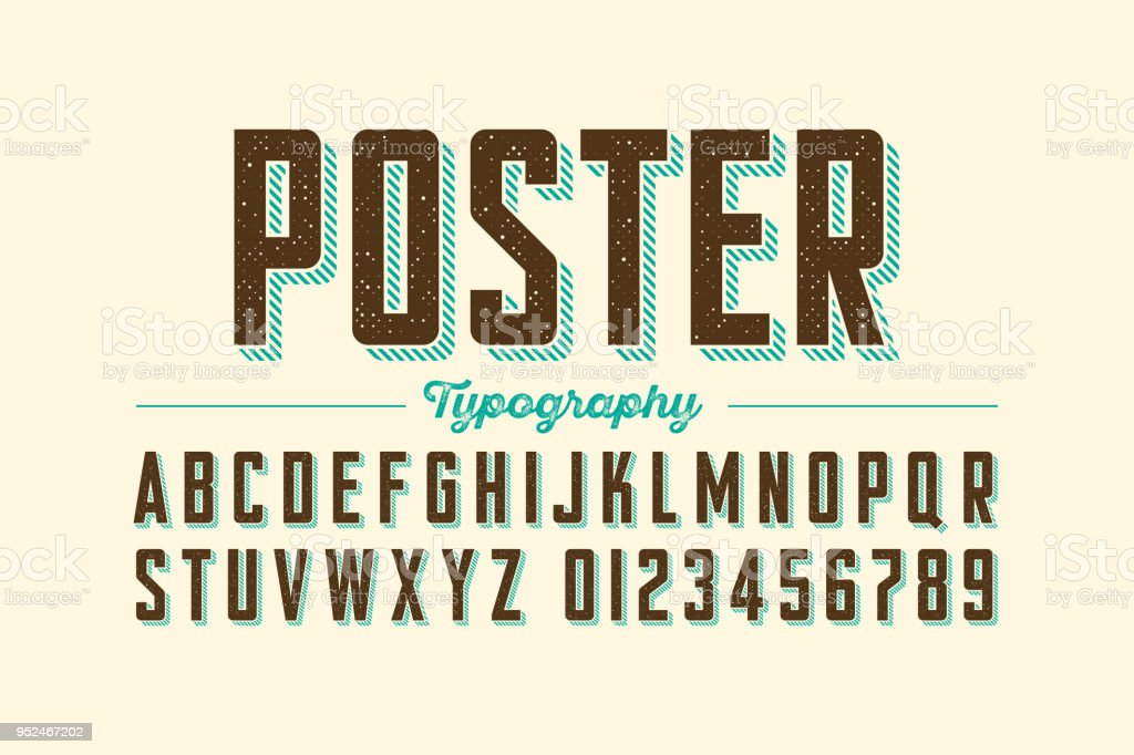 Retro style vintage font vector art illustration