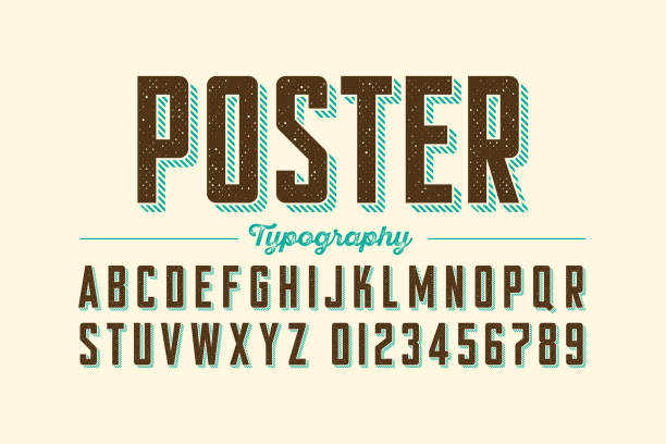 retro style vintage font - fonts and typography stock illustrations, clip art, cartoons, & icons