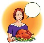 Retro Style Woman Holding Roasted Turkey Dinner