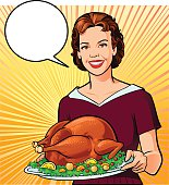 Young vintage woman is proudly taking a delicious roasted turkey to her family at the dining table. The woman and turkey with garnish are placed on separate layers.