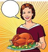 Retro Style Woman Holding Roasted Turkey