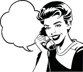Black and white illustration of an old fashioned woman having a conversation on the phone. High resolution JPG and Illustrator 0.8 EPS included.