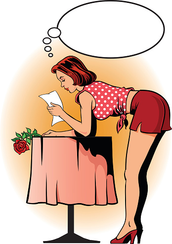 Retro Style Woman Reading Letter and Holding Rose