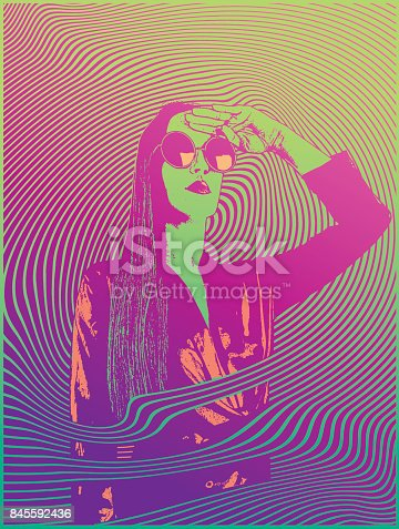 istock Retro styled 1960's psychedelic sensuous woman 845592436