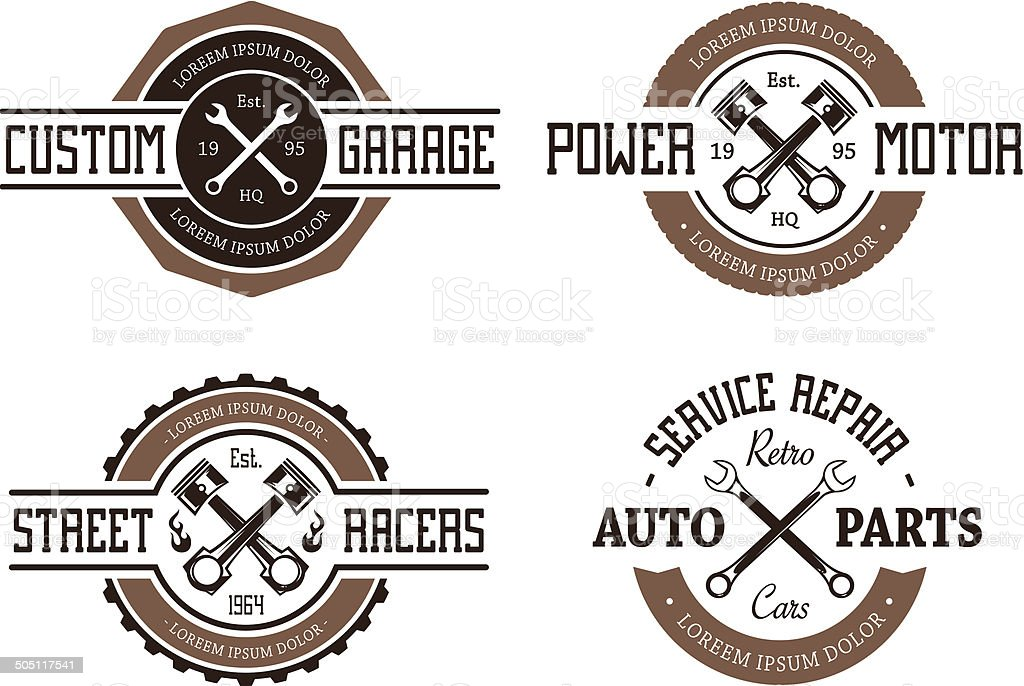 Retro Styled Auto Emblems vector art illustration