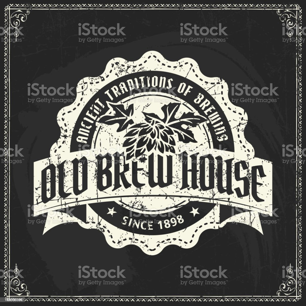 Retro Styled Beer design on a blackboard royalty-free stock vector art