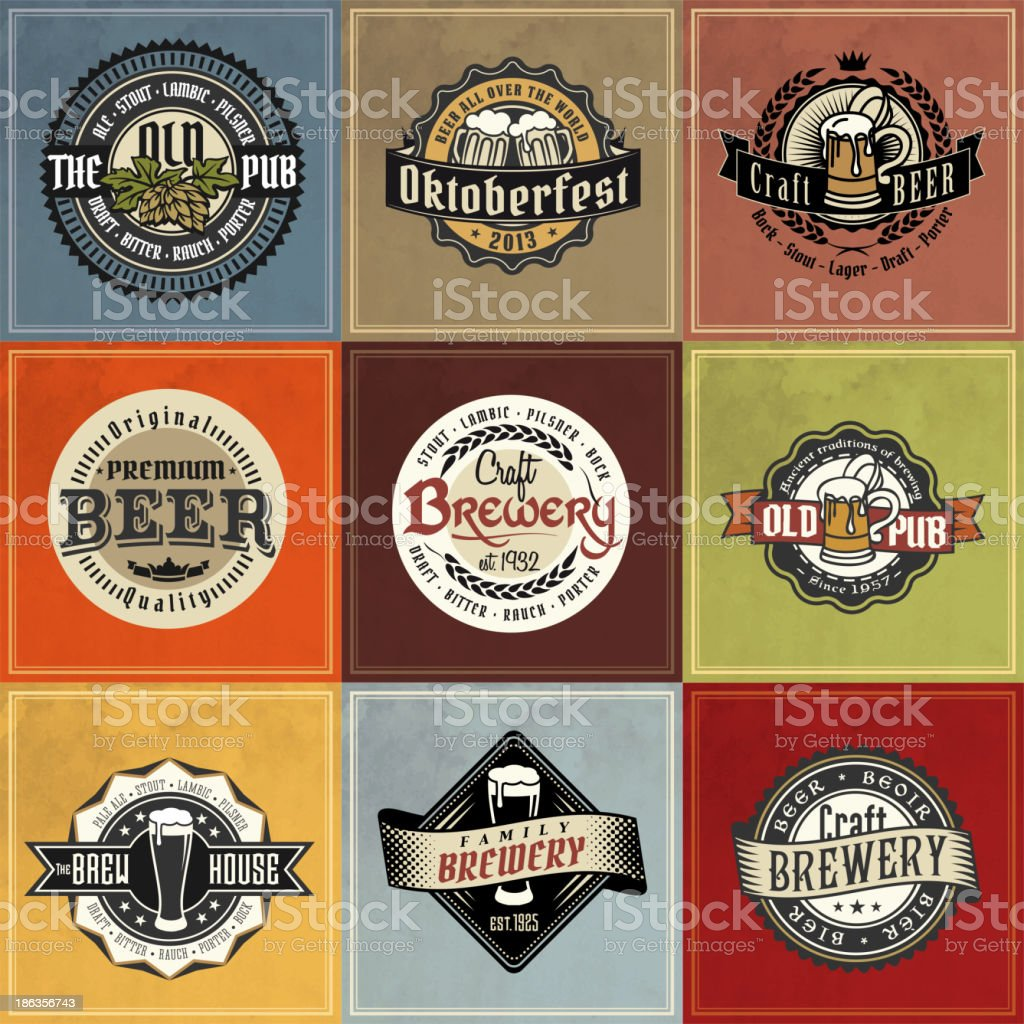 Retro Styled Beer Label Collections vector art illustration