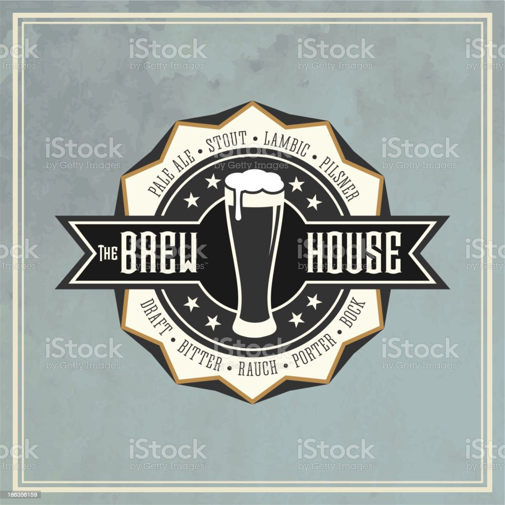 Retro Styled Beer Label vector art illustration