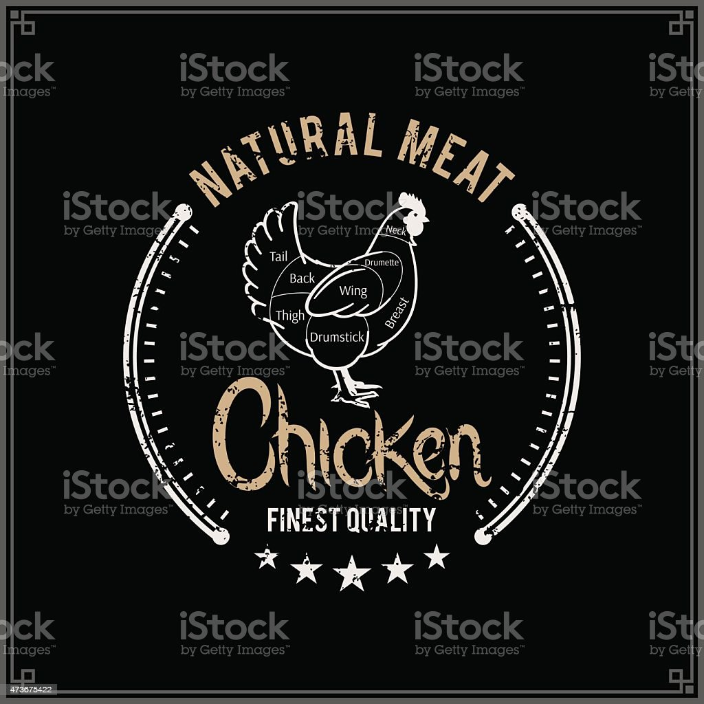 Retro Styled Butcher Shop Label Template, Chicken Cuts Diagram vector art illustration
