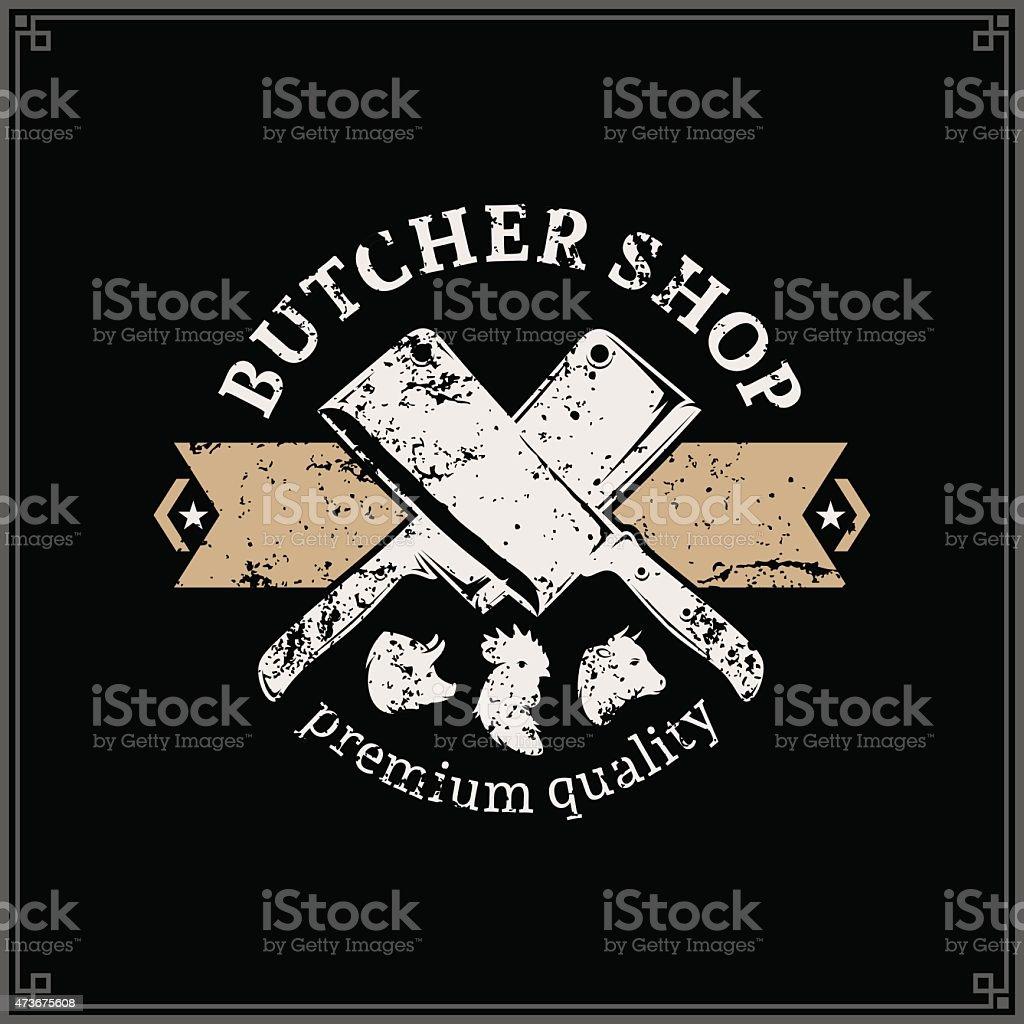 Retro Styled Butchery Label Template vector art illustration