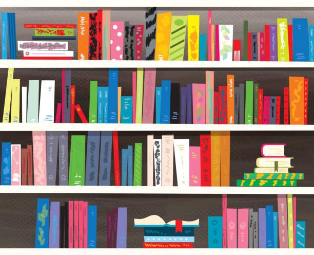 Retro styled colorful bookshelf vector art illustration
