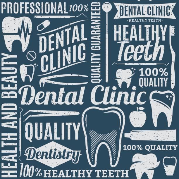 ilustraciones, imágenes clip art, dibujos animados e iconos de stock de retro estilo de patrones sin fisuras la clínica dental o fondo - logos de dentista