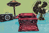 Bright and colorful stylisitic rendering of a Retro office desk setting. Desk features 1940s era typewriter, large fan, loud speaker, and desk lamp. Each desk item is brightly colored and features a grunge textured background.