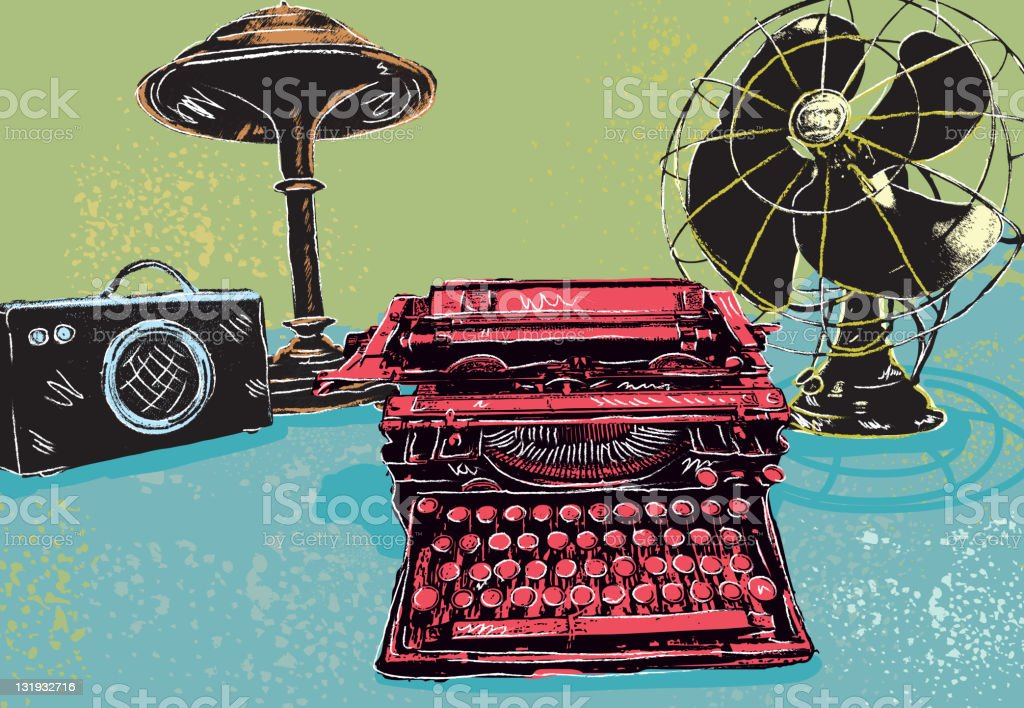 Retro styled drawing of assorted vintage desk items vector art illustration