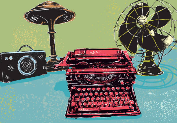 retro styled drawing of assorted vintage desk items - 1940s style stock illustrations