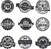 Retro styled label set of beer
