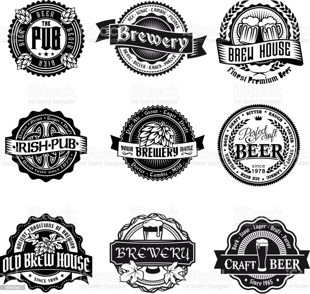 Retro styled label set of beer vector art illustration