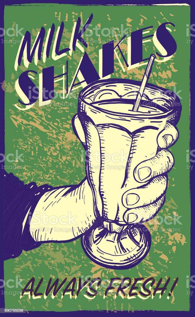 Retro styled Milk Shake sign vector art illustration