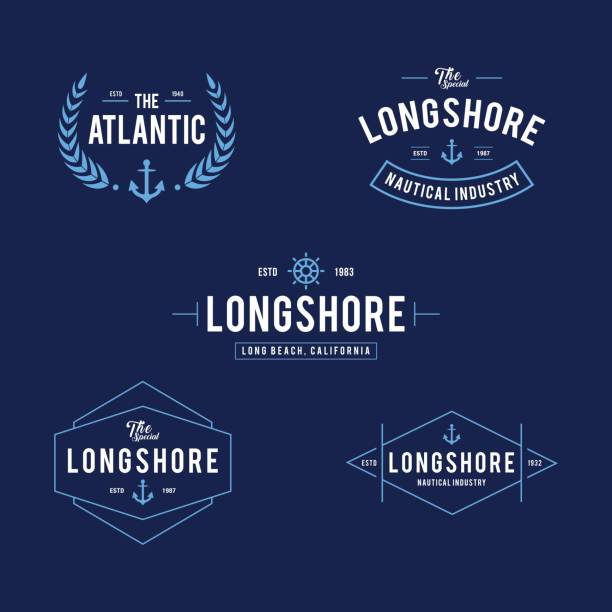 retro styled nautical store design illustration collections - boat stock illustrations