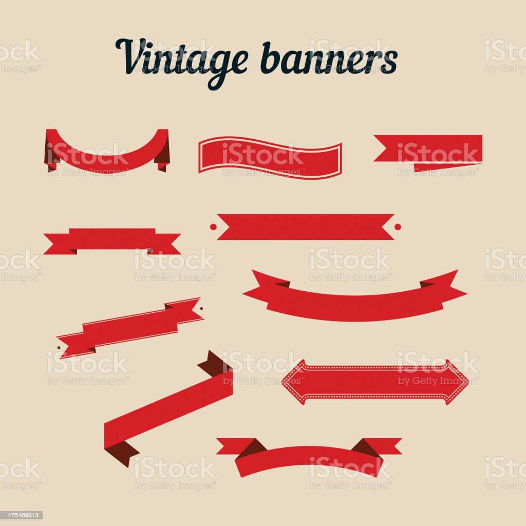 Retro styled ribbons collection. vector art illustration