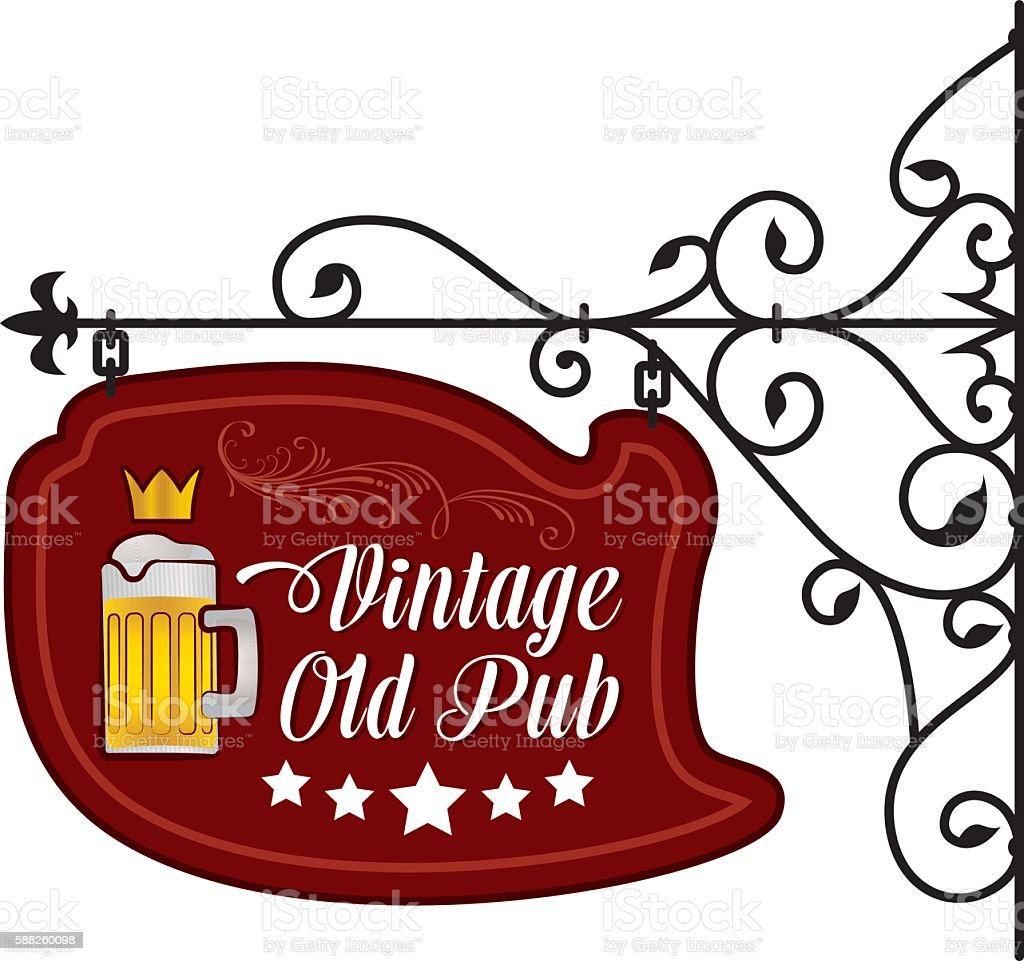 Retro Styled Sign Pub vector art illustration