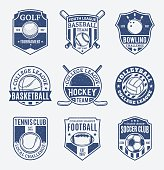 Retro styled sport team labels for nine sport disciplines