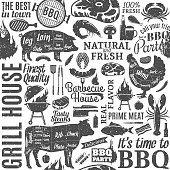 Retro styled typographic vector barbecue seamless pattern or background. BBQ, meat, vegetables, beer, wine and equipment icons for cafe, bar and restaurant menu, branding and identity