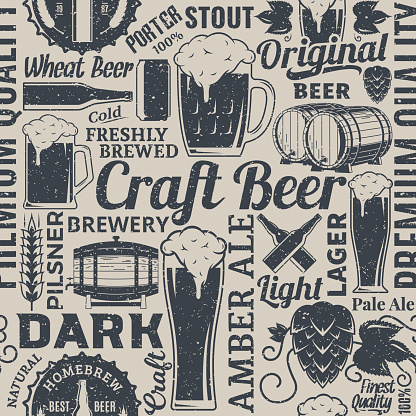 Retro styled typographic vector beer seamless pattern or background