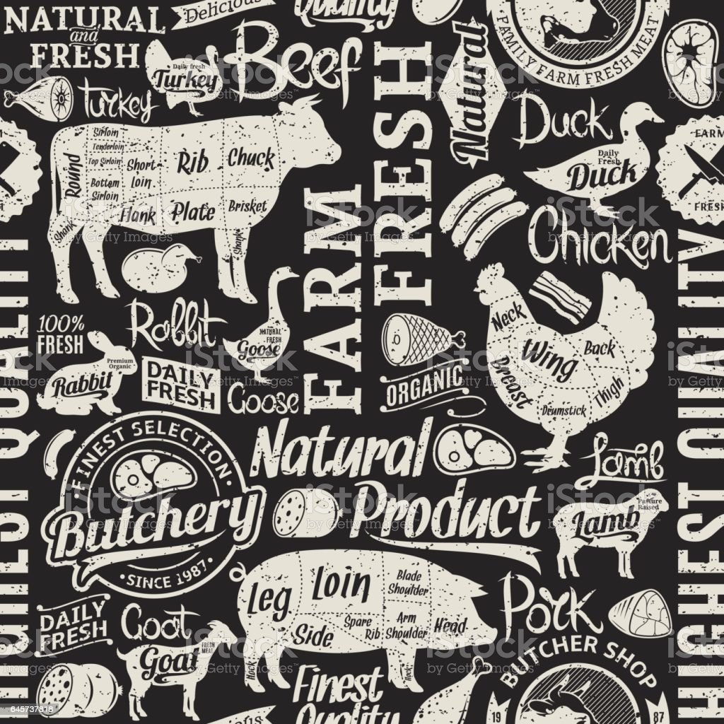 Retro styled typographic vector butchery seamless pattern or background vector art illustration