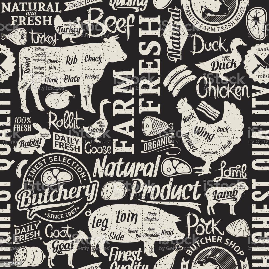Rétro Style typographique vecteur boucherie transparente motif ou fond - Illustration vectorielle