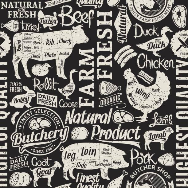 ilustrações de stock, clip art, desenhos animados e ícones de retro styled typographic vector butchery seamless pattern or background - meat texture