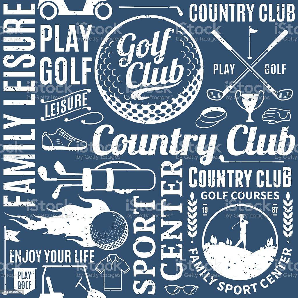 Retro styled typographic vector golf seamless pattern or backgro - ilustração de arte em vetor