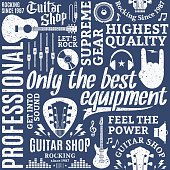 Retro styled typographic vector guitar shop seamless pattern