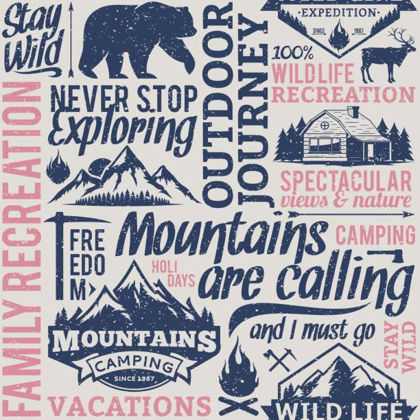 Retro styled typographic vector mountain and outdoor adventures seamless pattern or background Retro styled typographic vector mountain and outdoor adventures seamless pattern or background. Tourism, hiking and travel icons for tourism organizations, outdoor events and camping leisure adventure patterns stock illustrations
