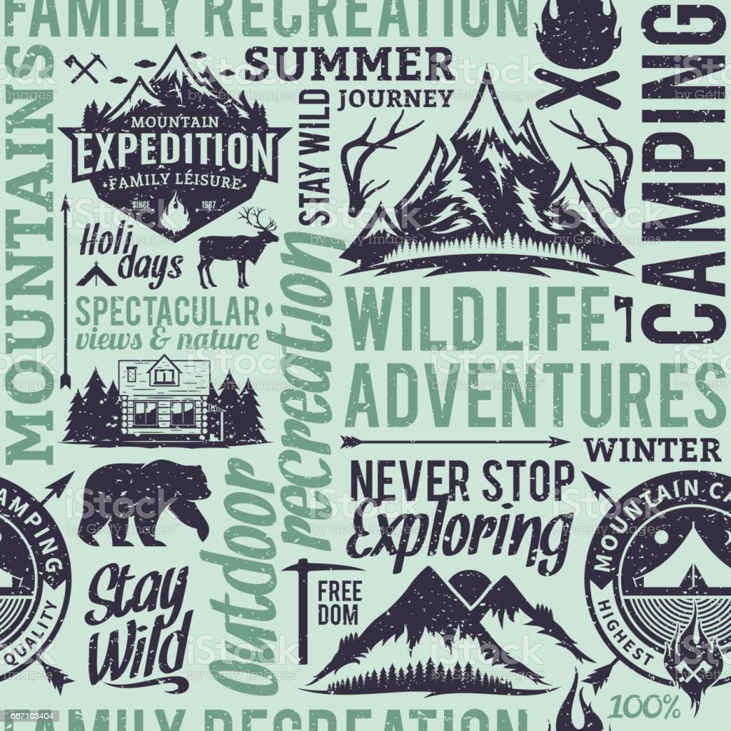 Retro styled typographic vector mountain and outdoor adventures seamless pattern or background vector art illustration