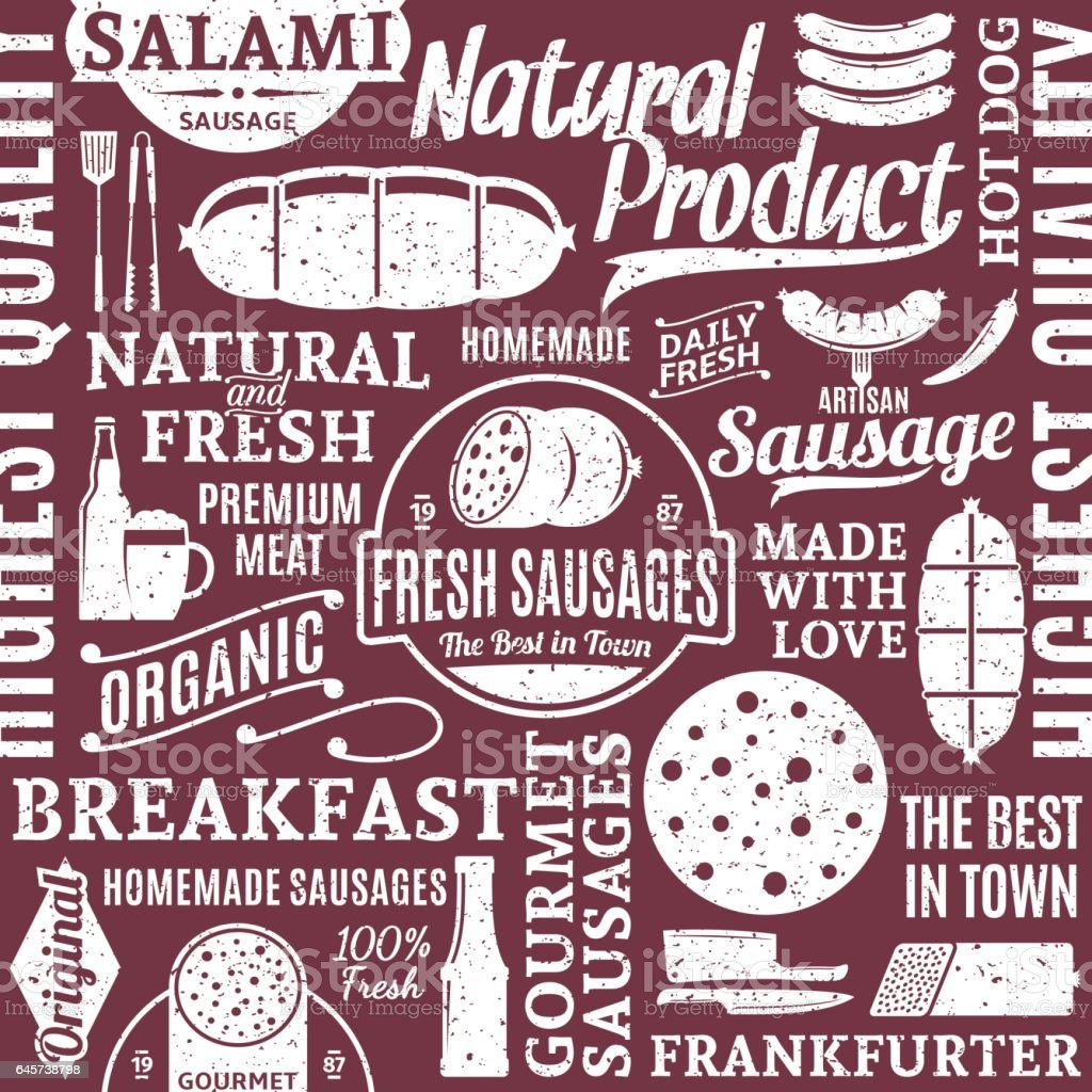 Retro styled typographic vector sausages seamless pattern or background vector art illustration