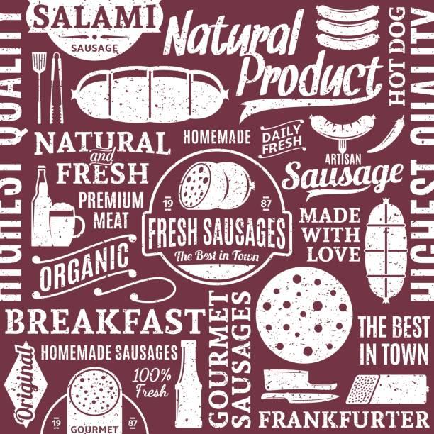ilustrações, clipart, desenhos animados e ícones de retro estilo tipográfico vetor salsichas sem costura padrão ou plano de fundo - delicatessen