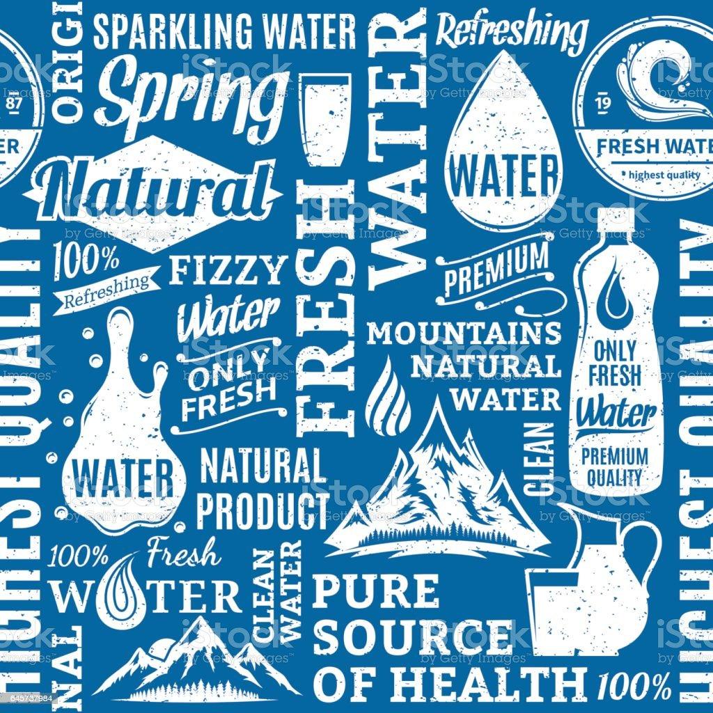 Retro estilo tipográfico vetor água sem costura padrão ou plano de fundo - ilustração de arte em vetor