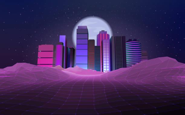 Retro styled Urban Skyline, City vector art illustration