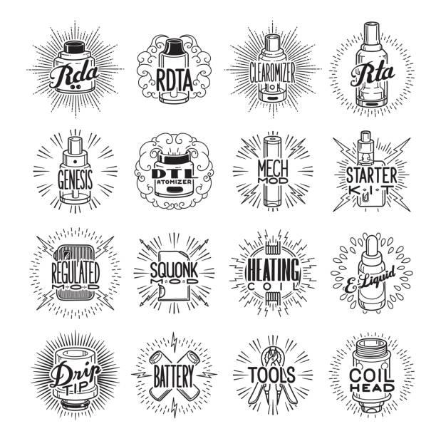 ilustraciones, imágenes clip art, dibujos animados e iconos de stock de icono de vaping en blanco y negro estilo retro - tipos de letra y tipografía