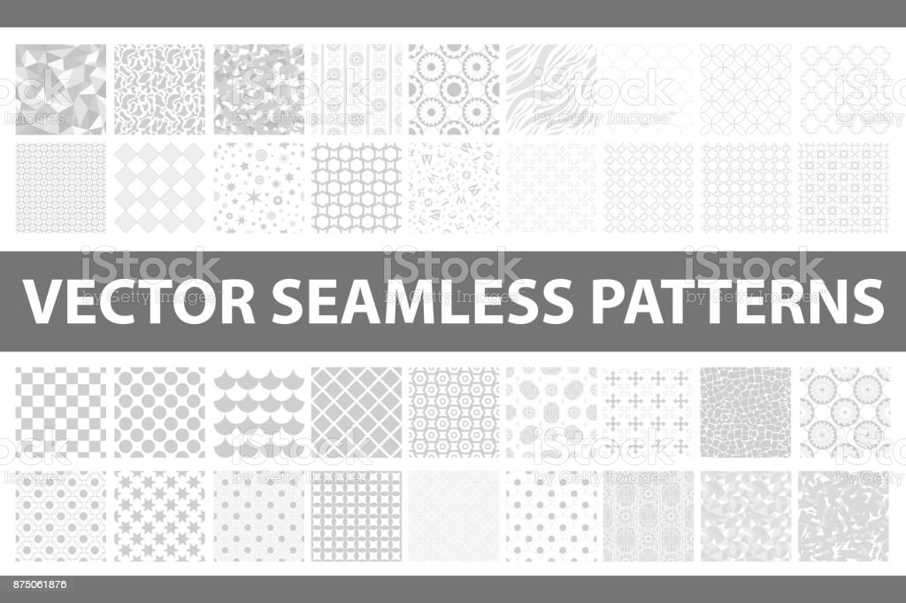 Retro styled vector seamless pattern pack: abstract, vintage, technology and geometric. 36 grey elements. Vector illustration vector art illustration