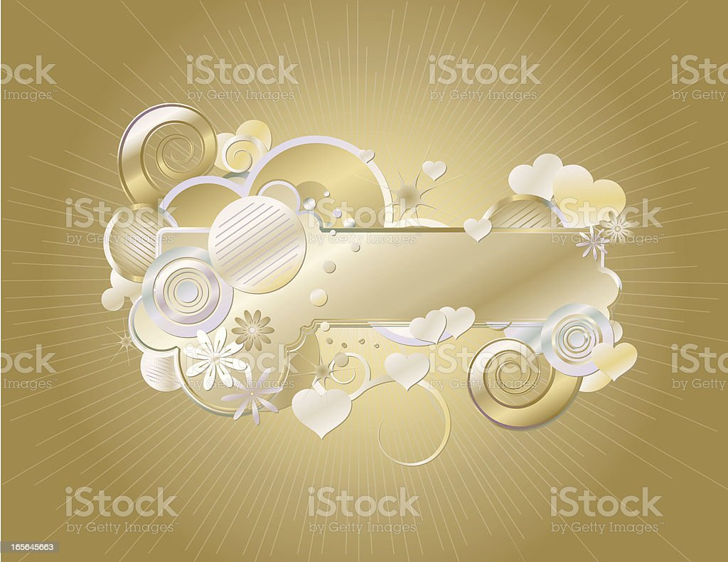 Retro Stylized Frame with Hearts in Gold and Silvery Metals royalty-free stock vector art