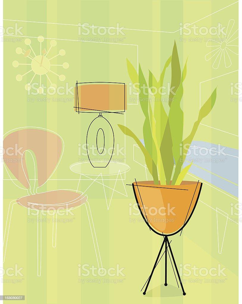 Retro stylized house plant