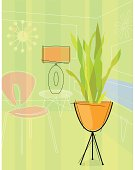 Modern, colorful stylized motif of bullet planter/snake plant, chair, table and lamp. Each item is grouped so you can use them independently from the background. Vector illustration, CMYK, 8.5 x 11 inch. Illustrator 8 EPS, JPEG (RGB 300 dpi high resolution) included. No transparencies or strokes!