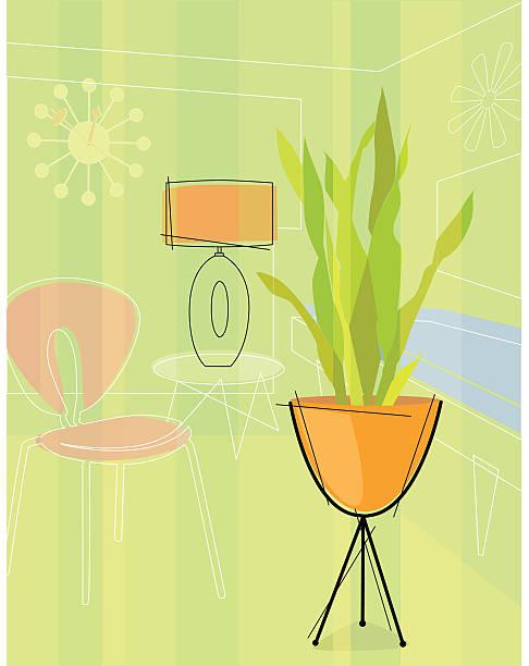 Retro stylized house plant vector art illustration