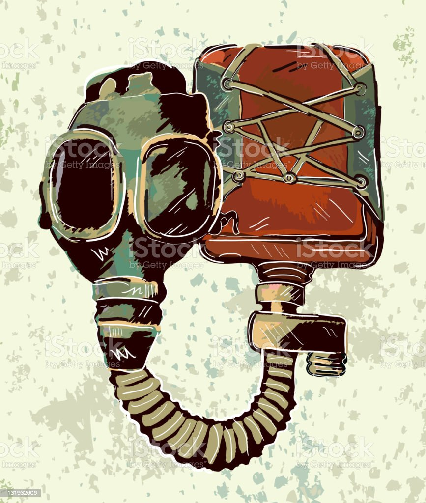 Retro stylized vector drawing of vintage gas mask vector art illustration