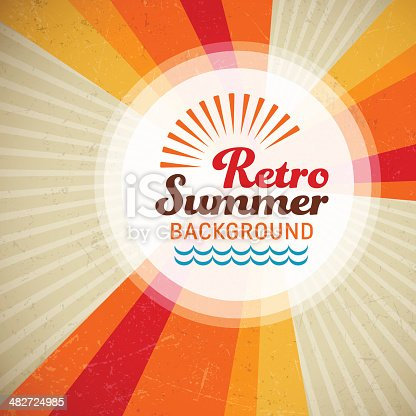 Retro summer background with copy space. EPS10 file contains transparencies.  Hi res jpeg included, global colors used. Scroll down to see more of my illustrations linked below.